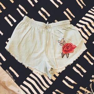 Dolls Kill Small Wild Rose Denim Shorts